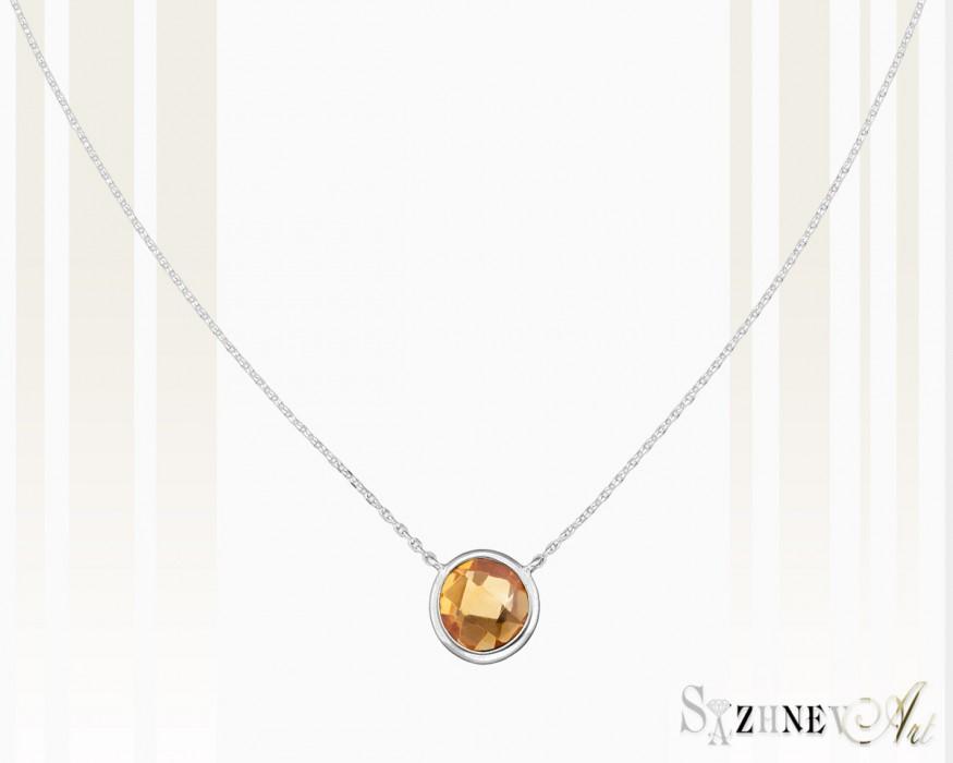 Золотое колье с цитрином Арт.CH270-pc443(2w)