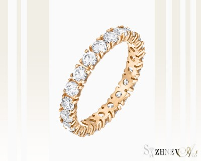 Кольцо из красного золота с цирконием. Артикул CH035-k015