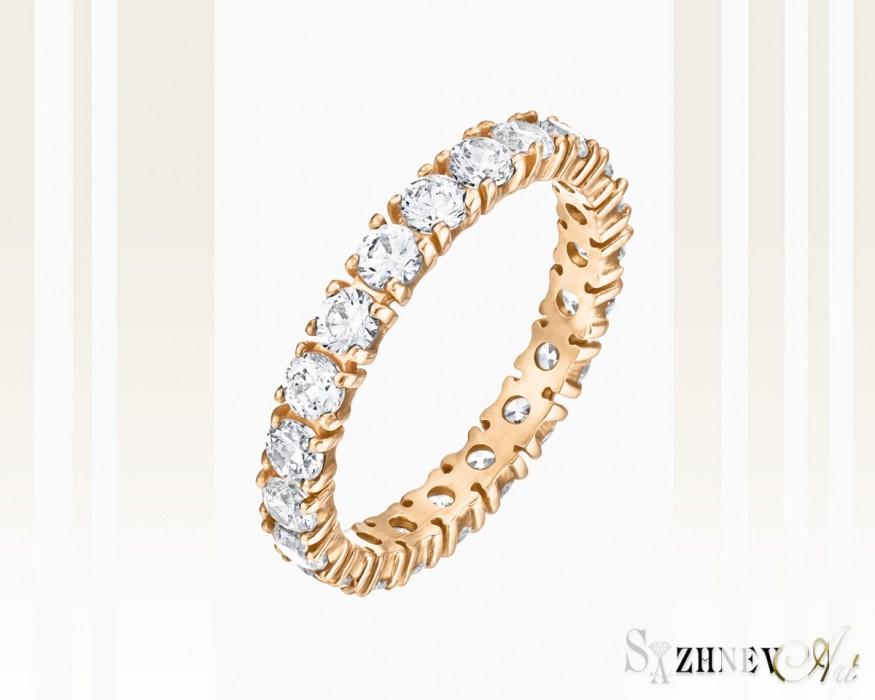 Кольцо из красного золота с цирконием Арт.CH035-k015