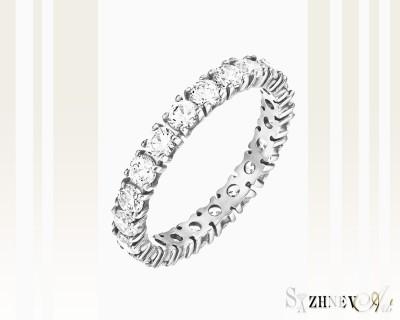 Кольцо из белого золота с цирконием. Артикул CH060-k015w