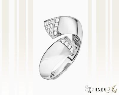Кольцо из белого золота с цирконием. Артикул CH093-k069w