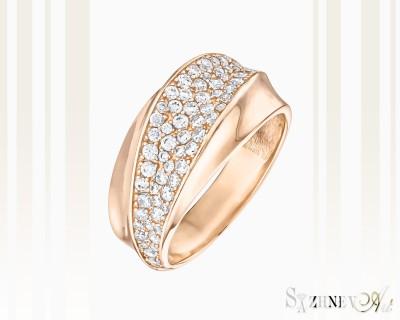 Кольцо из красного золота с цирконием. Артикул CH015-k087(2)