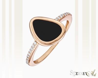Кольцо из красного золота с цирконием и ониксом. Арт.CH083-k180