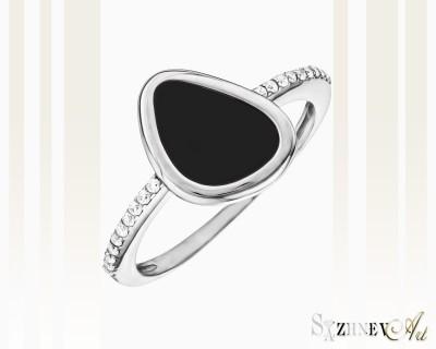 Кольцо из белого золота с цирконием и ониксом. Арт.CH104-k180w
