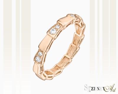 Кольцо из красного золота с цирконием. Артикул CH038-k208