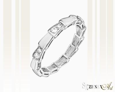 Кольцо из белого золота с цирконием. Артикул CH068-k208w