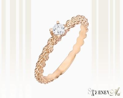 Кольцо из красного золота с цирконием. Артикул CH062-k224