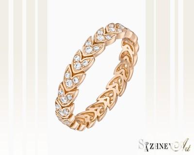 Кольцо из красного золота с цирконием. Артикул CH021-k252
