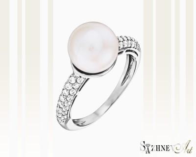 Кольцо из белого золота с цирконием и жемчугом. Арт.CH091-k357w