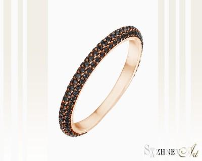 Кольцо из красного золота с цирконием. Артикул CH058-k364