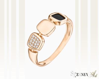Кольцо из красного золота с цирконием и ониксом. Арт.CH061-k452