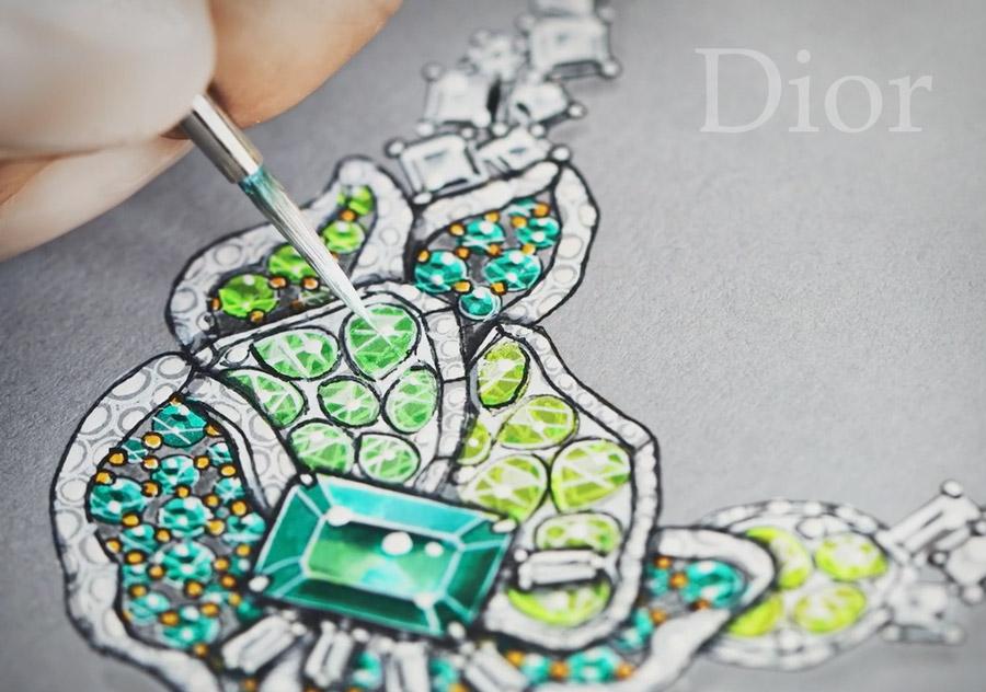 Дизайн колье Dior Rose Vitrail