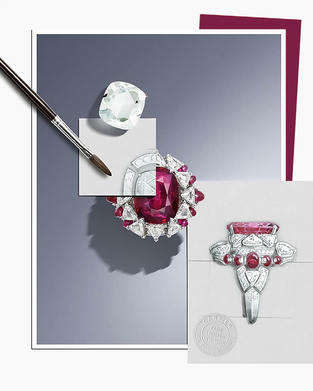 Эскиз кольца Phaan от Cartier с High Jewelry дизайном