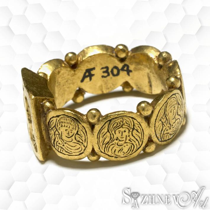 Обручальное кольцо-печатка из золота, с религиозным (христианским) дизайном. Ранняя Византия. V век н.э.