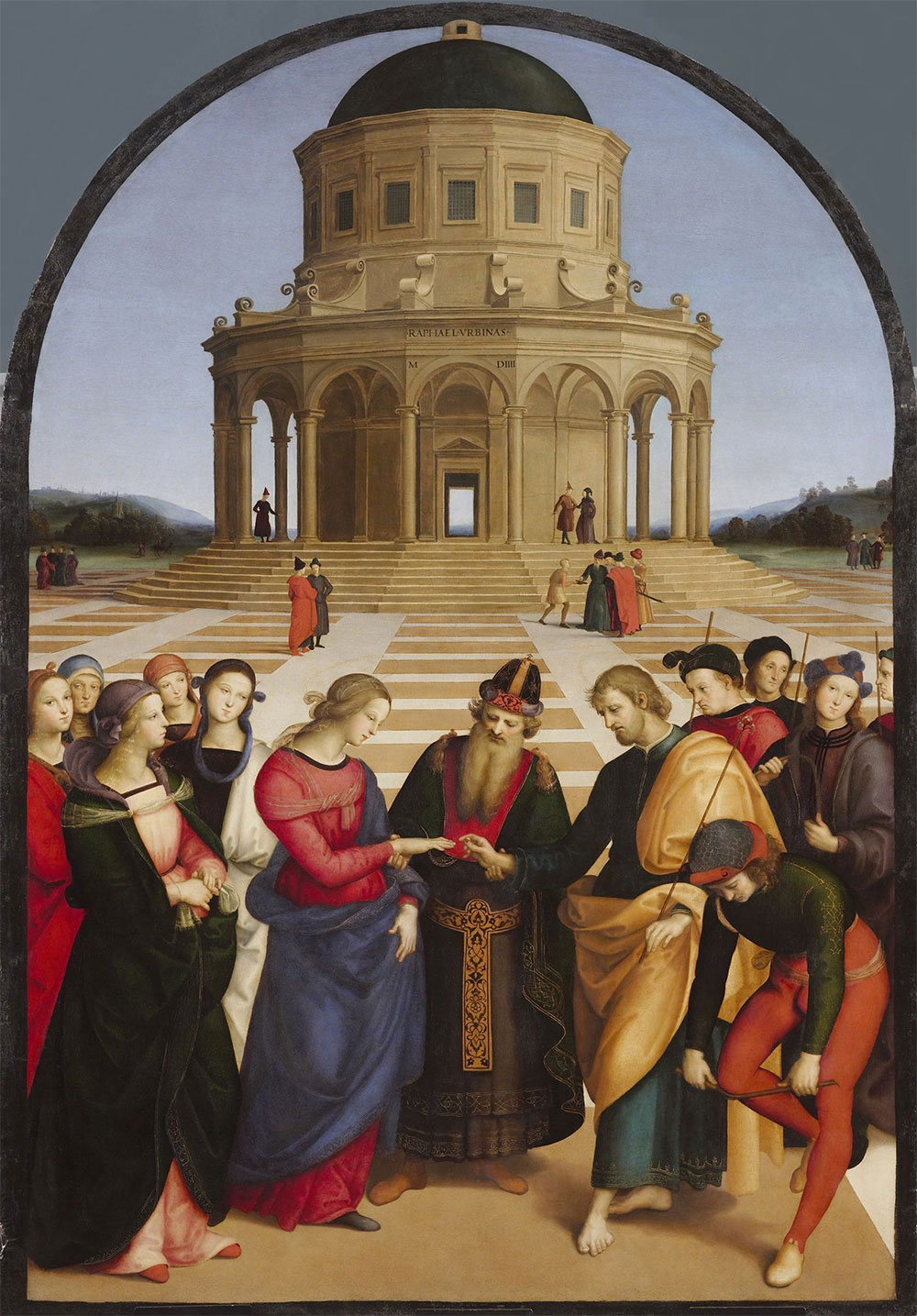 Рафаэль Санти. «Обручение Девы Марии». 1504 год. Иосиф надевает обручальное кольцо на правую руку Марии.